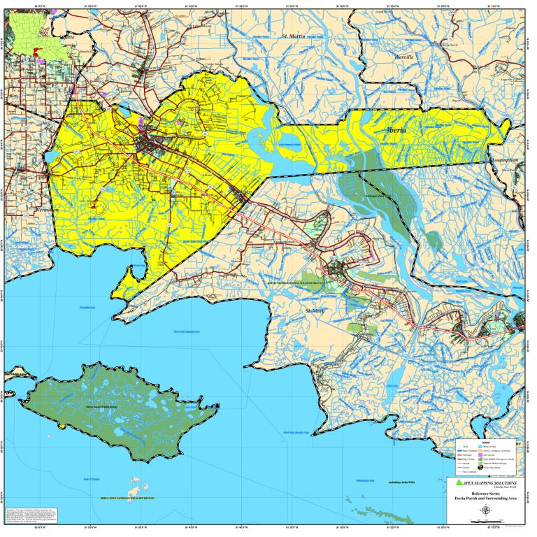 Iberia Parish Map